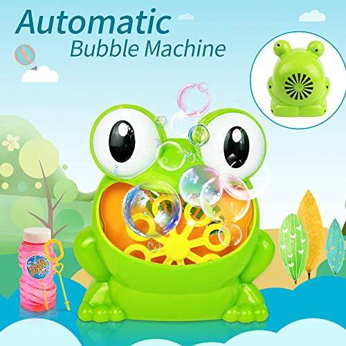 KIDCHEER Frog Bubble Machine Automatic Bubble Maker Blower for Birthday Party, Wedding, Toddlers Bath Toys
