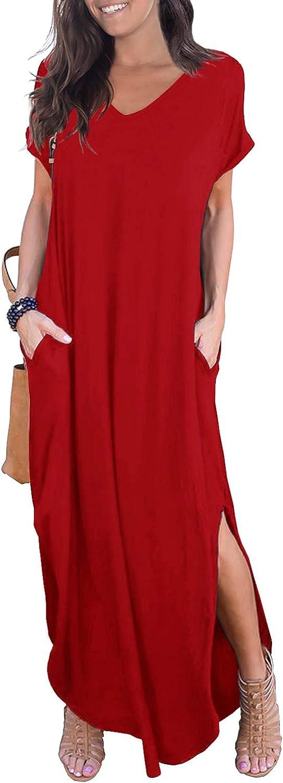 GRECERELLE Womens Casual Loose Pocket Long Dress Short Sleeve Split Maxi Dresses