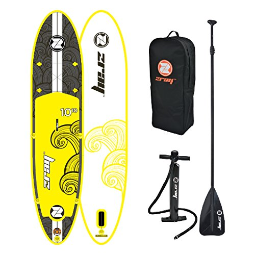 Zray Inflatable Paddle Board Stand Up SUP Comes with Adjustable Aluminum Paddle/High-Pressure Pump with Gauge/Big Durable Backpack (X2)