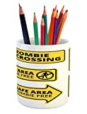 Ambesonne Zombie Pencil Pen Holder, Safe Area Zombie Free Safe Protection Zone Caution Sign from Horror Movie Design, Printed Ceramic Pencil Pen Holder for Desk Office Accessory, Yellow Black