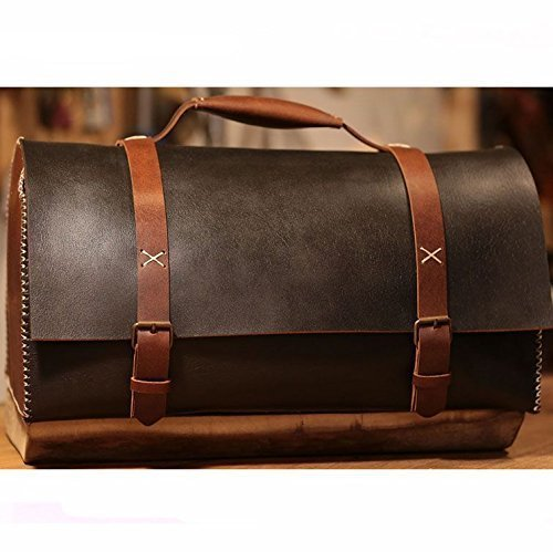 BLack Leather Handmade Retro Duffel Bag by AnyLeatherDesigns
