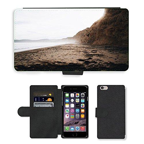 """PU Leather Cover Custodia per // M00421778 Côte Shore Beach océan d'eau de mer // Apple iPhone 6 PLUS 5.5"""""""