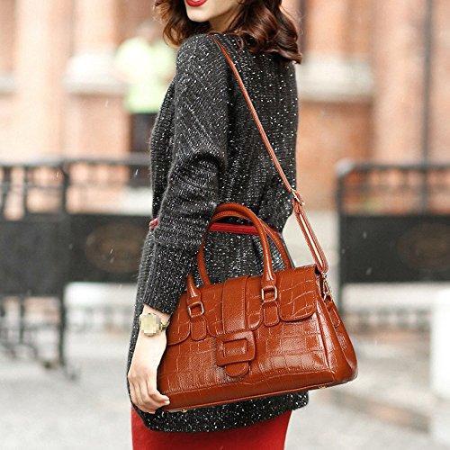 Crossbody Handbag Bag Tote Brown Shoulder Handle Bag Pu Multicolor Zipper Top Large For Women Leather Fashion Lady E4fUxw6qnO