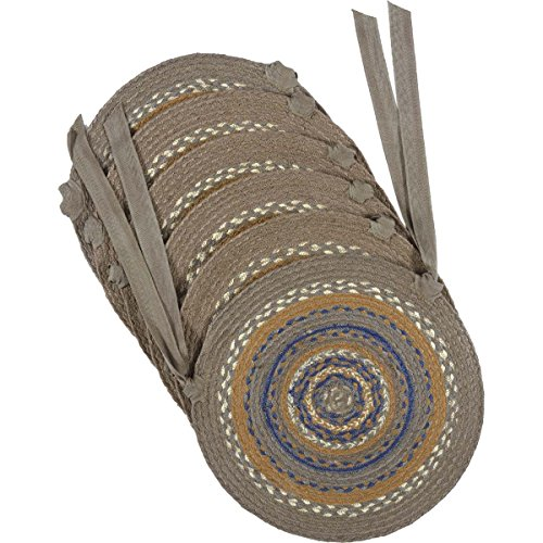 VHC Brands Riverstone Jute Chair Pad Set of 6