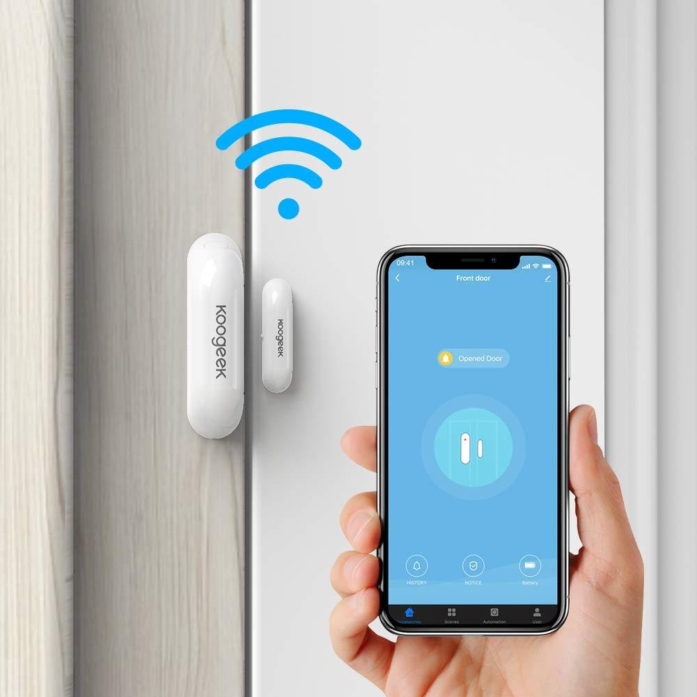 Koogeek Sensor de Puerta Wifi, Notificación Inteligente de APP Control Remoto, funciona con Alexa/Google Home, Sistema de seguridad para el hogar, IOS y Andriod, no Hub con 2.4 Ghz WIFI