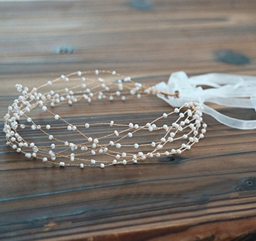 BABEYOND Bridal Headpiece Rhinestone Wedding Headband Pearl Vintage Wedding Hair Bands for Brides with Lace Ribbon (White Beads)