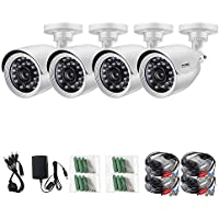 ZOSI 4PCS AHD 1280TVL(720P) CCTV Security Weatherproof Camera 24 IR-LEDs Day/ Night vision 65ft(20m)