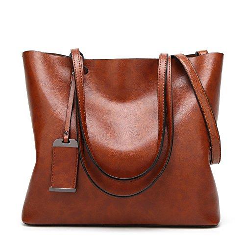 Brave&JN Women's Leather Handbag Shoulder Bag Retro Handbag Fashion Handbag,Brown