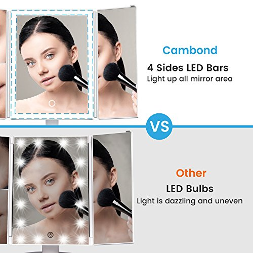 Cambond-LED-Lighted-Makeup-Mirror-Tri-Fold-Vanity-Mirror-With-4-LED-Light-Bars-Touch-Screen-Light-Control-3X2X-Magnifying-SectionsDual-Power-Supply-180-Rotation-Countertop-Cosmetic-Mirror