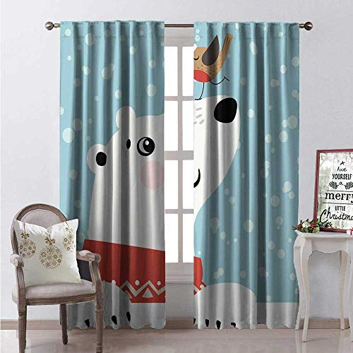 Hengshu Colorado Window Curtain Fabric Cartoon Style Drawing of Polar Bear and Little Bird Tiny Present Box Winter Drapes for Living Room W96 x L96 Multicolor