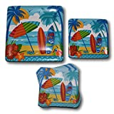 Combined Brands Summer Surfboard Beach Hawaiian Tropical Luau Paper Plates Napkins Party Supply Bundle - Picnic Tableware Set Includes - Beach Dinner Plates - Dessert Plates Napkins