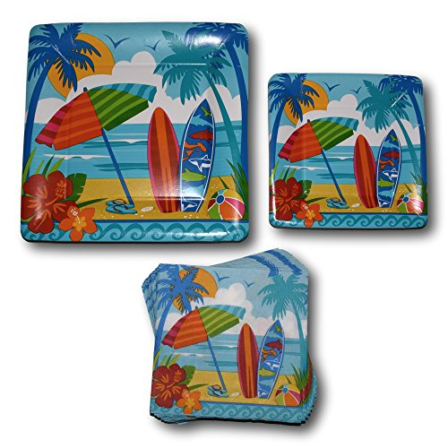 ch Hawaiian Tropical Luau Paper Plates and Napkins Party Supply Bundle - Picnic Tableware Set Includes - Beach Dinner Plates - Dessert Plates and Napkins (Tropical Surfboard)
