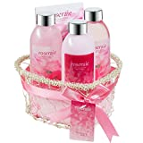 Freida and Joe Relaxing Aromatherapy Pink Rose Fragrance Bath, Body, Beauty, Spa, Shower, Gift Set, Contains Shower Gel, Bubble Bath, Body Lotion, and Bath Puff, Perfect for Women Skin Care