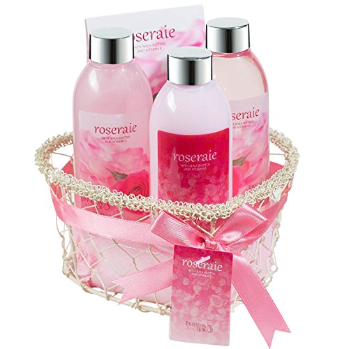 Gift Basket for Women – Treat Yourself or a Loved One To Create a At Home Spa, Pamper Your Body with this Heart Rose Spa Bath and Body Set: Shower Gel, Bubble Bath, Body Lotion, Bath Salts