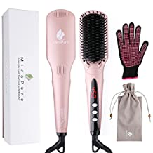 2-in 1 Ionic Hair Straightener Brush MCH Heating Hair Straightening Irons with Free Heat Resistant Glove and Temperature Lock Function (Golden Pink)