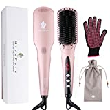 MiroPure 2 in 1 Ionic Hair Straightener Brush with Heat Resistant Glove and Temperature Lock Function (Golden Pink)