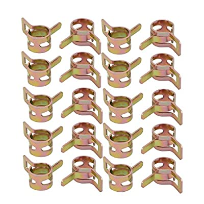uxcell 20 Pcs 9mm Spring Band Type Action Fuel Hose Pipe Air Clamp Bronze Tone