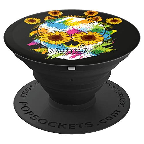- Watercolor Skull Design For Skull Lovers Sunflower Skull - PopSockets Grip and Stand for Phones and Tablets