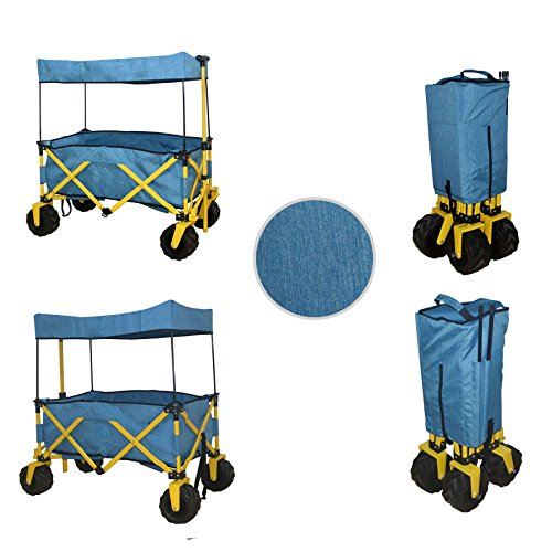 BLUE JUMBO WHEEL FOLDING WAGON ALL PURPOSE GARDEN UTILITY BEACH SHOPPING TRAVEL CART OUTDOOR SPORT COLLAPSIBLE WITH CANOPY COVER - EASY SETUP NO TOOL NECESSARY - COMPACT FOLDED SIZE SPACE - Wagon Camp