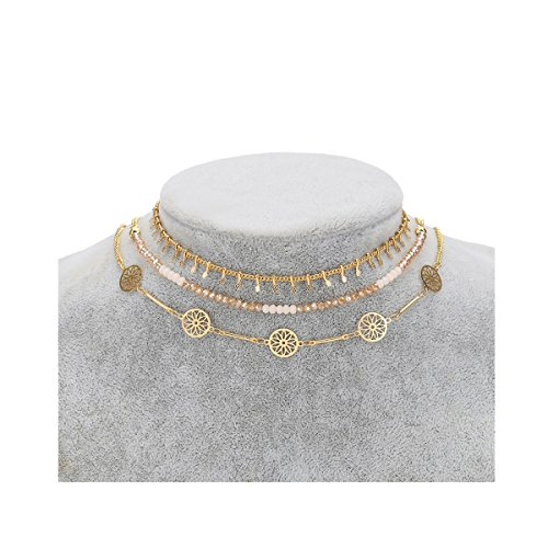 Dolovely Dainty Gold Choker Necklace sets for Women Fills Minimal Bead Layered Bohemia Friendship (Choker Gold Necklace)