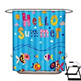 BlountDecor Kids Shower Curtains 3D Digital Printing Colored Welcoming Hello Quote Print with Patchwork Style Sea Fish and Clouds Image Custom Made Shower Curtain W48 x L72 Multicolor