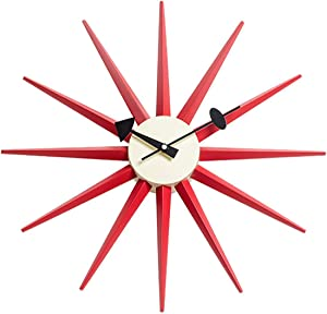 SHISEDECO Modern George Nelson Sunburst Clock in Red Color - Non Ticking, Wooden Mid Century Retro Design Decorative Silent Wall Quartz Clock for Home, Living Room, Office and Bedroom etc.(Red)
