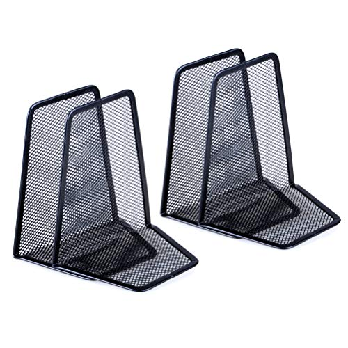 - Haomian 2 Pair Black Mesh Metal Bookends Heavy Duty Universal Nonskid Economy Desk Organizer Book Holder Support
