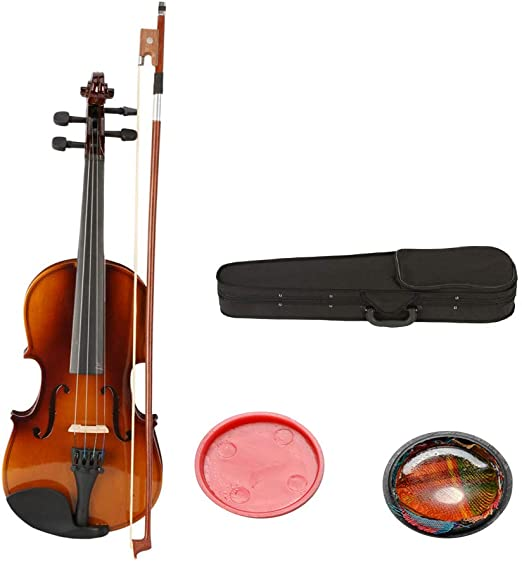 1//8 Size Acoustic Violin Case Bow Rosin Natural Kids Violin for 4-5 Years Old Children Kids