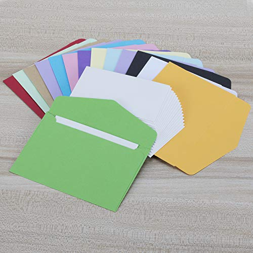 Colorful Envelopes with White Blank Business Cards - 150Pcs Pocket Envelopes by Apoulin (Image #2)