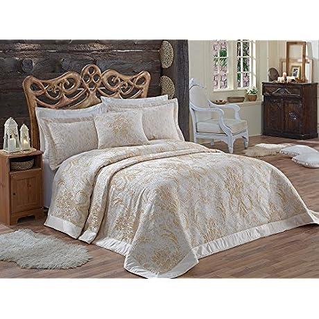 Dantela Vita Jacquard Bed Cover For Queen Bed Masal Cream