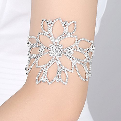 Cuff Harness (Dolland Flower Arm Harness Slave Chain Cuff Armband Armlet Bracelet Floral Bracelet Gorgeous Clear Quartz Crystal)