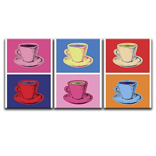 3 Panel Pop Art Style Multiple Colors Coffe Cups x 3 Panels