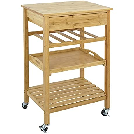SUPER DEAL Bamboo Rolling Storage Cart Kitchen Trolley Bakers Cart Wine Rack W Drawers And Shelves