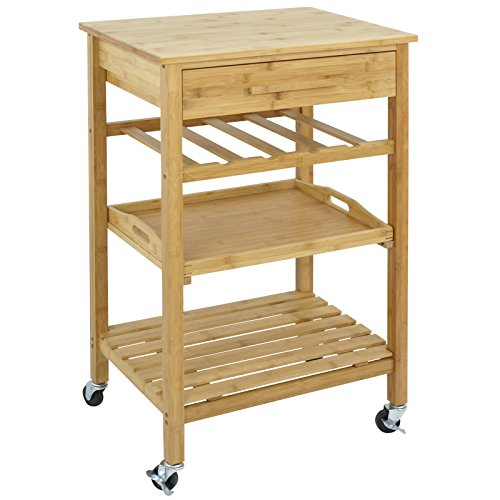 SUPER DEAL Bamboo Rolling Storage Cart Kitchen Trolley Bakers Cart Wine Rack w/ Drawers and Shelves (Kitchen Island Bamboo)