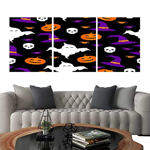 Frameless Paintings 3 Pieces Painting CollectionHappy halloween abstract seamless pattern background Abstract halloween pattern for design card party invitation poster album menu t shirt bag print e]()