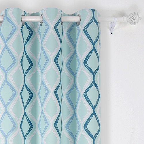 Deconovo Decorative Wave Printed Thermal Insulated Blackout Window Curtains Grommet Curtains 42 Inch Wide by 84 Inch Long for Kitchen Light Green White Sky Blue and Dark Green One Panel