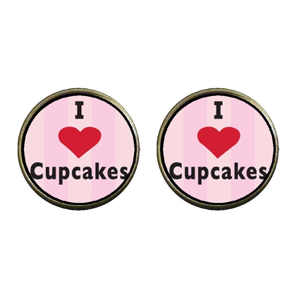 GiftJewelryShop Bronze Retro Style I Heart Cupcakes Photo Clip On Earrings 14mm Diameter