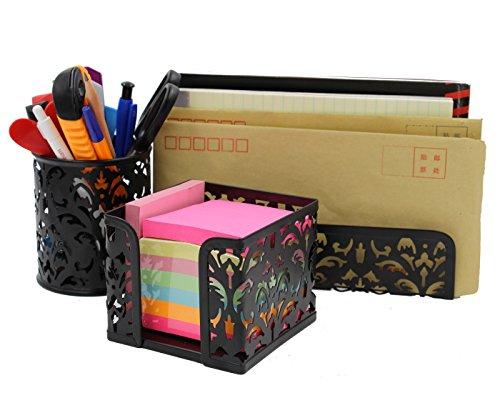 (EasyPAG Metal 3 in 1 Desk Organizer Set - Letter Sorter, Pen Holder and Sticky Notes Holder,Black)