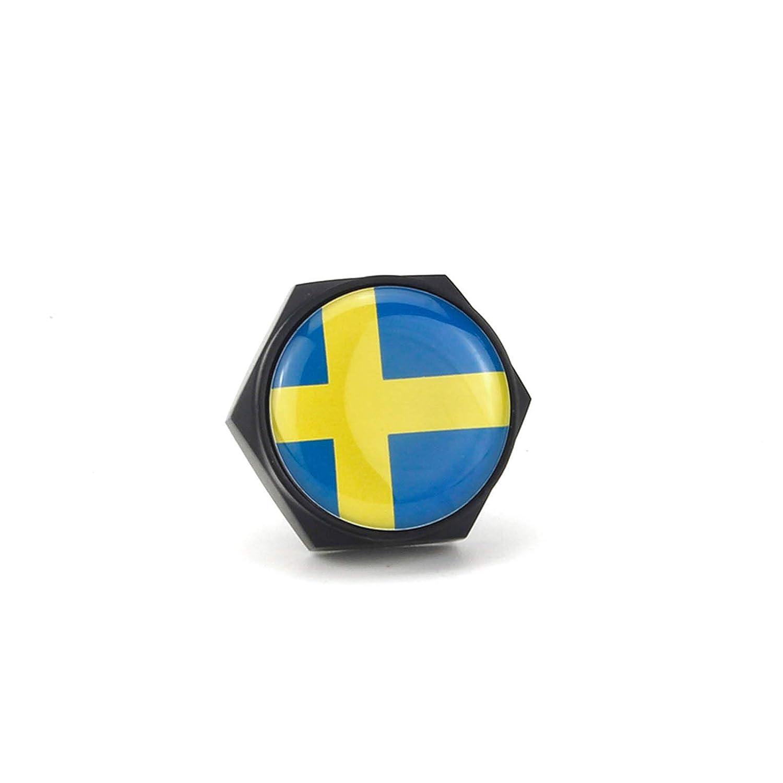 XuXuauto 4 Tornillos para Marco de Placa de veh/ículo con Emblema de Bandera Sueca para SAAB Volvo S60 S80 S90 V40