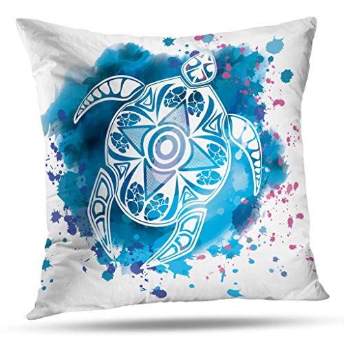 overs, Animal Turtle Tattoo Style Watercolor Animal Turtle Tattoo Double-Sided Pattern Sofa Cushion Cover Couch 18 x 18 Decorative Home Gift Bed Pillowcase ()