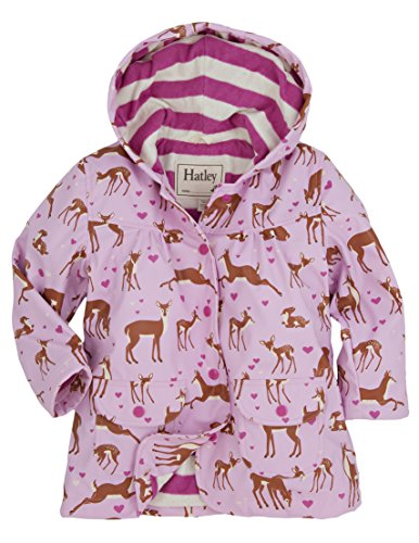 Hatley Little Girls' Raincoat Soft Deers, Light Pink Deer, 4 by Hatley