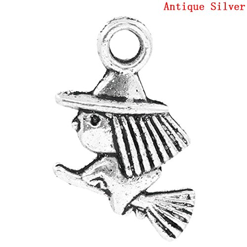 PEPPERLONELY 50pc Antiqued Silver Alloy Halloween Witch & Broom Charms Pendants 13x10mm (1/2