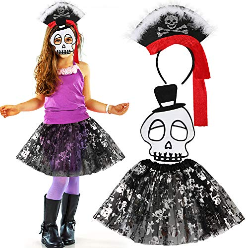 VAMEI Halloween Costumes for Girls with Crossbones Tutu Skirt Skull Mask Fancy Headband Party Favors Pirate Costume Outfit for Kids Girl