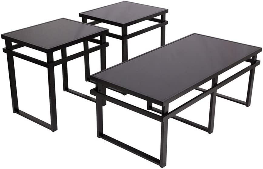Signature Design by Ashley - Laney Glass Top 3-Piece Occasional Table Set, Black Finish: Furniture & Decor