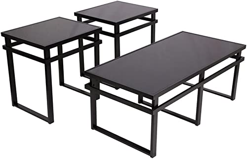 Signature Design by Ashley – Laney Glass Top 3-Piece Occasional Table Set, Black Finish