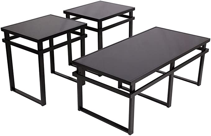 Signature Design By Ashley Laney Glass Top 3 Piece Occasional Table Set Black Finish Furniture Decor