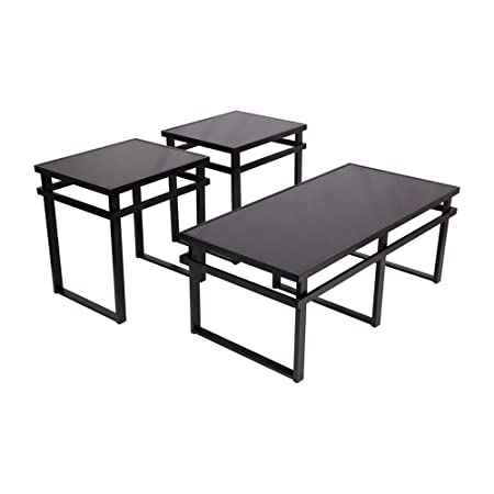 Ashley Furniture Signature Design – Laney Glass Top Occasional Table Set – Contains Cocktail Table 2 End Tables – Contemporary – Black Finish