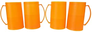 1 Set of Four (4) Orange Freezer Beer Mugs College Boise State Tennessee Trojans Texas Texans University Color Beer Mugs
