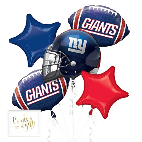 Andaz Press Balloon Bouquet Party Kit with Gold Cards & Gifts Sign, Giants Football Themed Foil Mylar Balloon Decorations, -