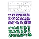 540 PCS /18 Sizes Rubber O Rings, Green/Purple Sealing Washer Assortment Kit for Plumbing, Automotive, General Repair with Case
